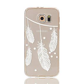 voordelige Galaxy S7 Edge Hoesjes / covers-hoesje Voor Samsung Galaxy S7 edge / S7 / S6 edge Transparant / Patroon Achterkant Veren Zacht TPU