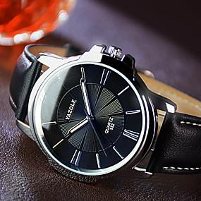 Недорогие Фирменные часы-YAZOLE Муж. Наручные часы Кварцевый Кожа Черный / Коричневый Фосфоресцирующий Повседневные часы Аналоговый Кулоны Классика Нарядные часы Простые часы - Черный Коричневый Один год Срок службы батареи