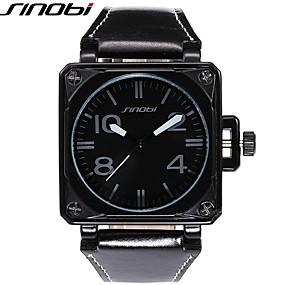 זול שעוני מותגים-SINOBI בגדי ריקוד גברים שעוני ספורט שעונים צבאיים שעון יד קווארץ עור שחור 30 m עמיד במים עמיד לזעזועים מגניב אנלוגי פאר - שחור חום ברונזה שנתיים חיי סוללה / מתכת אל חלד