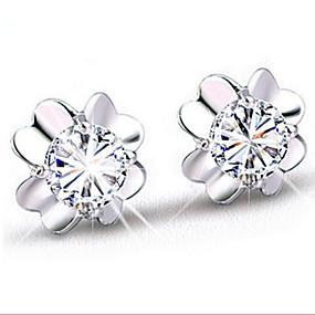 olcso Ezüst-Női Beszúrós fülbevalók Virág minimalista stílusú Divat Fülbevaló Ékszerek Ezüst Kompatibilitás Napi