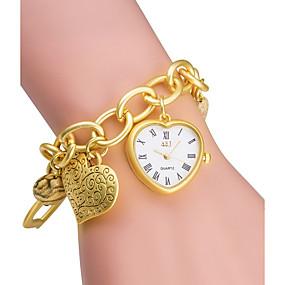 Недорогие Фирменные часы-ASJ Жен. Модные часы Часы-браслет золотые часы Японский Кварцевый Японский кварц Серебристый металл / Золотистый 30 m / Аналоговый Дамы Heart Shape - Серебряный Золотой