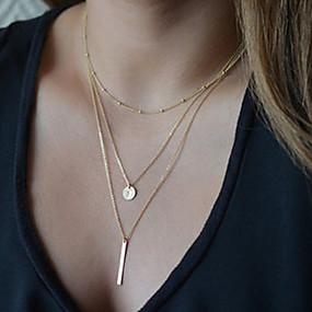 olcso Többsoros nyaklánc-Női Nyaklánc medálok Y nyaklánc Olcsó hölgyek Alap Divat Ötvözet Ezüst Aranyozott Nyakláncok Ékszerek Kompatibilitás Parti Napi Hétköznapi