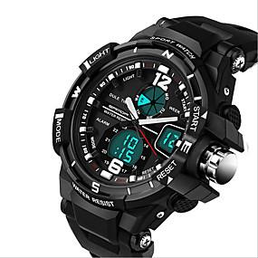 levne Šperky&Hodinky-Pánské Sportovní hodinky Módní hodinky Vojenské hodinky Digitální Silikon Černá 30 m Kalendář Chronograf LCD Analog - Digitál Luxus - Žlutá Červená Modrá / Nerez / Hodinky s dvojitým časem / Svítící