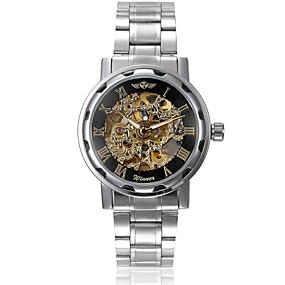olcso Winner-WINNER Férfi Szkeleton óra Karóra mechanikus Watch Automatikus önfelhúzós Rozsdamentes acél Ezüst Üreges gravírozás Analóg Amulett - Ezüst