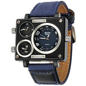Недорогие Фирменные часы-Oulm Муж. Модные часы Армейские часы Наручные часы Кварцевый Стеганная ПУ кожа Синий С тремя часовыми поясами Cool Аналоговый Роскошь Steampunk - Синий