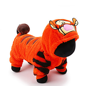 cheap Pet Supplies-Cat Dog Costume Jumpsuit Cartoon Tiger Cosplay Holiday Winter Dog Clothes Yellow Blue Pink Costume Plush Fabric XXS XS S M L