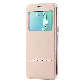 voordelige Galaxy S7 Hoesjes / covers-hoesje Voor Samsung Galaxy S7 edge / S7 / S6 edge plus met standaard / met venster / Flip Volledig hoesje Effen PU-nahka