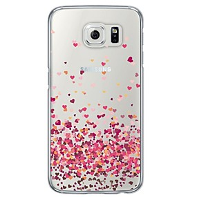 voordelige Galaxy S4 Hoesjes / covers-hoesje Voor Samsung Galaxy S6 / S5 / S4 Transparant / Patroon Achterkant Hart Zacht TPU