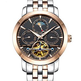 Недорогие Фирменные часы-Carnival Муж. Часы со скелетом Механические часы Авиационные часы С автоподзаводом Нержавеющая сталь Белый 30 m С гравировкой Фосфоресцирующий Фаза луны Аналоговый На каждый день - Черный