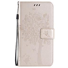 voordelige Galaxy J1 Hoesjes / covers-hoesje Voor Samsung Galaxy Xcover 3 / J7 (2016) / J7 Portemonnee / Kaarthouder / met standaard Volledig hoesje Boom Zacht PU-nahka