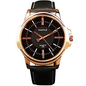 Недорогие Фирменные часы-YAZOLE Муж. Наручные часы Кварцевый Крупногабаритные На каждый день Повседневные часы Кожа Черный / Коричневый Аналоговый - Черный Коричневый