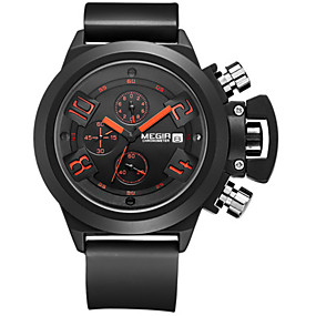 Недорогие Фирменные часы-MEGIR Муж. Спортивные часы Нарядные часы Наручные часы Кварцевый силиконовый Черный / Белый Календарь Секундомер / Аналоговый На каждый день - Белый Черный