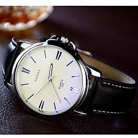 Недорогие Фирменные часы-YAZOLE Муж. Нарядные часы Наручные часы Кварцевый Кожа Черный / Коричневый Повседневные часы / Аналоговый Классика На каждый день - Черный Коричневый Один год Срок службы батареи / SSUO 377