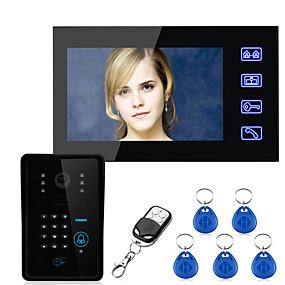 povoljno Video portafoni-dodirna tipka 7 inčni lcd rfid lozinka jedan na jedan video telefon interfon sustav s 700tvl cmos ir kamera sustav kontrole pristupa ožičeni zid montiranje bez ruku