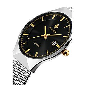 Недорогие Фирменные часы-WWOOR Муж. Наручные часы Кварцевый Японский кварц Нержавеющая сталь Серебристый металл 30 m Защита от влаги Календарь Фосфоресцирующий Аналоговый Роскошь Классика На каждый день Нарядные часы -