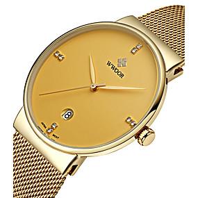 Недорогие Фирменные часы-WWOOR Муж. Наручные часы Кварцевый Японский кварц Нержавеющая сталь Серебристый металл 30 m Защита от влаги Календарь Фосфоресцирующий Аналоговый Роскошь Классика На каждый день Мода Нарядные часы -