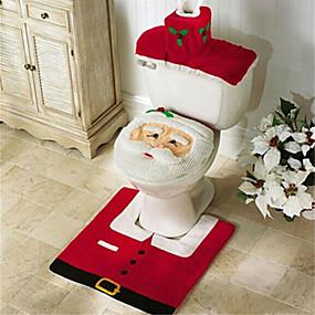 Недорогие Дом и сад-santa снеговик олень дух туалет сиденье покрытие ковер санузел набор с бумажным полотенцем покрытие для новогоднего подарка новый год украшения дома