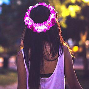 olcso Virágos ékszerek-Női Lány Virágos Virágok Megvilágított nagyító Anyag Hajékszerek Esküvő Különleges alkalom