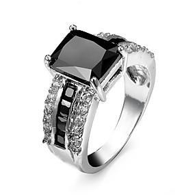 levne Šperky&Hodinky-Pánské Snubní prsteny Vyzvánění Prsten Kubický zirkon Černá Modrá Světle hnědá Zirkon Štras Pozlacené Geometric Shape dámy Přizpůsobeno Luxus Svatební Párty Šperky Solitaire Emerald Cut láska