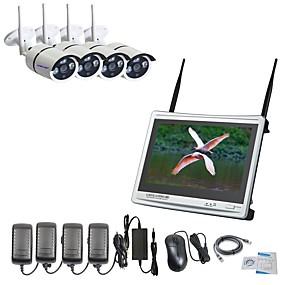 povoljno Zaštita i sigurnost-strongshine® 4ch h.264 bežični nvr sa 12.5inch zaslonom i 960p vodootporni / infracrveni wifi ip kamera sustav nadzora