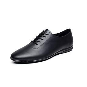 baratos Sapatos de Dança-Homens Sapatos de Dança Couro Sapatos de Jazz / Tênis de Dança Cadarço de Borracha Sapatilha Sem Salto Personalizável Preto / EU43