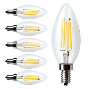 olcso LED nagykereskedelem-6db Izzószálas LED lámpák 380 lm E12 C35 4 LED gyöngyök COB Tompítható Meleg fehér 110-130 V / 6 db. / RoHs