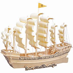 olcso Modellek és építőjáték-Fából készült építőjátékok Wood Model Hajó szakmai szint Fa 1 pcs Gyermek Felnőttek Fiú Lány Játékok Ajándék