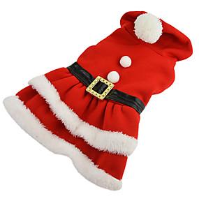 economico Prodotti Per Animali-Cane Costumi Vestiti Tinta unita Cosplay Natale Inverno Abbigliamento per cani Rosso Costume Cotone XS S M L XL