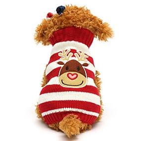 olcso Pet karácsonyi jelmezek-Cica Kutya Pulóverek Tél Kutyaruházat Fekete Zöld Piros Jelmez Pamut Rénszarvas Karácsony XXS XS S M L XL