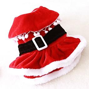 olcso Pet karácsonyi jelmezek-Cica Kutya Jelmezek Ruhák Tél Kutyaruházat Piros Jelmez Polár gyapjú Egyszínű Szerepjáték Karácsony XS S M L XL XXL