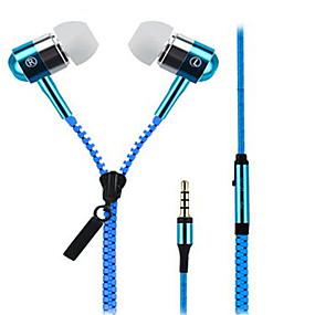 זול חדרי תצוגה של מותגים-Zipper באוזן חוטי אוזניות דִינָמִי Aluminum Alloy טלפון נייד אֹזְנִיָה עם מיקרופון אוזניות