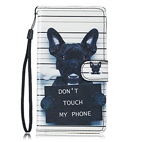 voordelige Galaxy S7 Edge Hoesjes / covers-hoesje Voor Samsung Galaxy S7 edge / S7 / S6 Portemonnee / Kaarthouder / met standaard Volledig hoesje Hond Hard PU-nahka