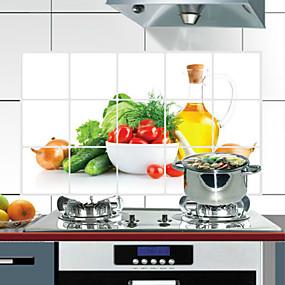 olcso Védelem-75x45 cm-es zöldségmintás olajálló, vízálló, hőálló, konyhai fali matrica