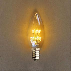 ieftine Becuri LED Lumânare-1 buc 1 W Bulb LED Glob 40 lm E14 C35 20 LED-uri de margele Dip LED Decorativ Galben 220-240 V / 1 bc / RoHs