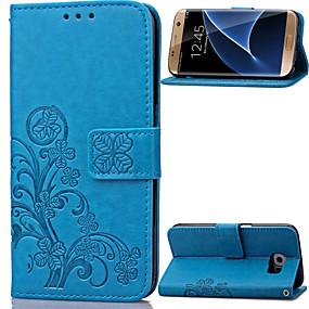 voordelige Galaxy S7 Edge Hoesjes / covers-hoesje Voor Samsung Galaxy S8 Plus / S8 / S7 edge Portemonnee / Kaarthouder / met standaard Volledig hoesje Bloem PU-nahka