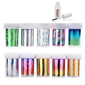 olcso Körömmatricák-10pcs nail foils + 1pcs nail foil glue - 4cmX120cm each piece - PVC - Absztrakt - Ujj / Toe - 3D-s körömmatricák