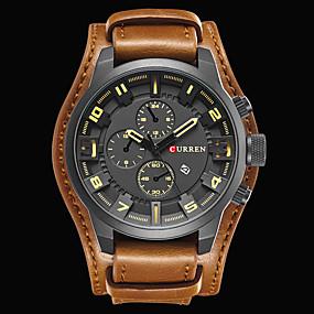 Недорогие Фирменные часы-CURREN Муж. Наручные часы Авиационные часы Японский Кожа Черный / Коричневый Защита от влаги Календарь Cool Аналоговый Роскошь Классика Винтаж На каждый день Мода - / # / Два года / Два года