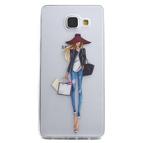 voordelige Galaxy A3(2016) Hoesjes / covers-hoesje Voor Samsung Galaxy A5(2016) / A3(2016) Transparant / Patroon Achterkant Sexy dame Zacht TPU