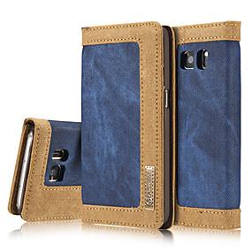 voordelige Galaxy S7 Edge Hoesjes / covers-hoesje Voor Samsung Galaxy S7 edge / S7 / S6 edge Portemonnee / Kaarthouder / met standaard Volledig hoesje Effen Hard tekstiili