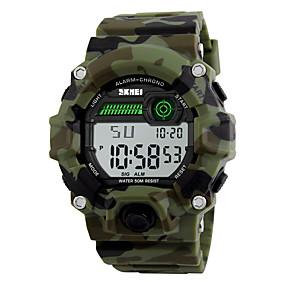 Недорогие Фирменные часы-SKMEI Муж. Спортивные часы Армейские часы Наручные часы Цифровой Защита от влаги Стеганная ПУ кожа Разноцветный Цифровой - Камуфляж Зеленый Два года Срок службы батареи / Будильник / Календарь / LED