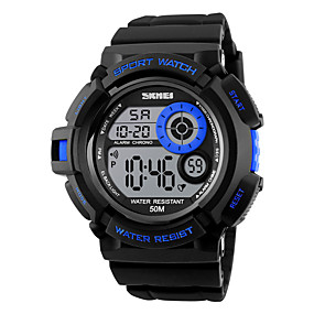 Недорогие Фирменные часы-SKMEI Муж. Спортивные часы электронные часы Цифровой Защита от влаги Стеганная ПУ кожа Черный Цифровой - Черный Желтый Красный Два года Срок службы батареи / Будильник / Календарь / Секундомер