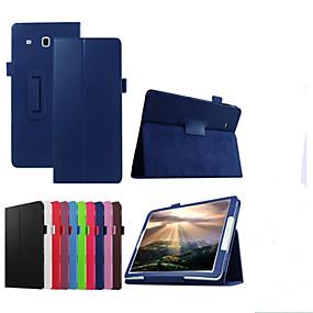 voordelige Galaxy Tab E 9.6 Hoesjes / covers-hoesje Voor Samsung Galaxy Tab E 9.6 met standaard / Flip Volledig hoesje Effen Hard PU-nahka