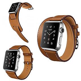 olcso Kiárusítás-Nézd Band mert Apple Watch sorozat 5/4/3/2/1 Apple Hagyományos csat Valódi bőr Csuklópánt