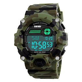 Недорогие Фирменные часы-SKMEI Муж. Спортивные часы Армейские часы Наручные часы Цифровой Стеганная ПУ кожа Разноцветный 30 m Защита от влаги Будильник Календарь Цифровой Камуфляж Зеленый Два года Срок службы батареи / LED