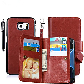 olcso Galaxy S4 tokok-Case Kompatibilitás Samsung Galaxy S8 Plus / S8 / S6 edge plus Pénztárca / Kártyatartó / Állvánnyal Héjtok Egyszínű Kemény PU bőr