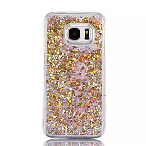 voordelige Galaxy S7 Edge Hoesjes / covers-hoesje Voor Samsung Galaxy S7 edge / S7 / S6 edge plus Stromende vloeistof Achterkant Glitterglans Hard PC