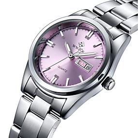 Недорогие Фирменные часы-WWOOR Жен. Наручные часы Кварцевый Нержавеющая сталь Серебристый металл Защита от влаги Аналоговый Дамы Кулоны Роскошь На каждый день Мода - Белый Розовый Темно-синий Два года Срок службы батареи