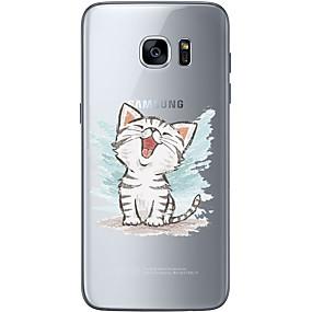 voordelige Galaxy S6 Edge Plus Hoesjes / covers-hoesje Voor Samsung Galaxy S7 edge / S7 / S6 edge plus Ultradun / Transparant / Patroon Achterkant Kat Zacht TPU