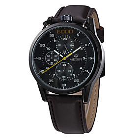 Недорогие Фирменные часы-MEGIR Мужской Спортивные часы Армейские часы Нарядные часы Модные часы Наручные часы Календарь Кварцевый Цифровой Натуральная кожа Группа
