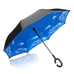 baratos Acessórios de Chuva-1pcs Plástico Sombrinha Ensolarado e chuvoso Chuva Guarda-Chuva Longo
